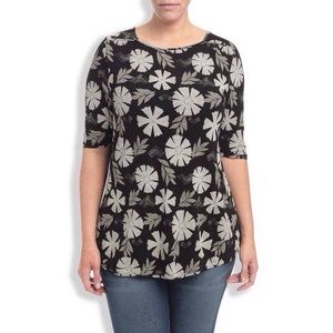 Lucky Brand Plus Size Black Floral Half Sleeve Top